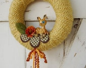 SALE - yelllow yarn wreath with vintage deer