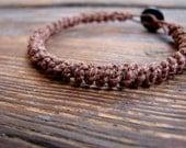 Lurid - Thick Dark Brown Hemp Macrame Bracelet