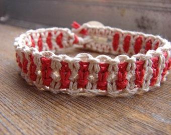 Red and White Striped Flat Macrame Thick Hemp Bracelet