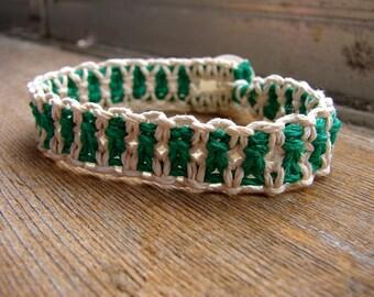 Kelly Green and White Striped Thick Hemp Bracelet