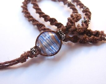 Sterling Silver Beaded Brown Hemp Macrame Necklace with Glass Blue Swirl Pendant