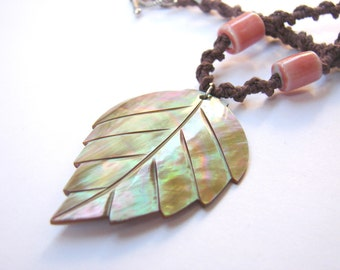 Arcadia - Brown Hemp Necklace with Pearl Leaf Pendant