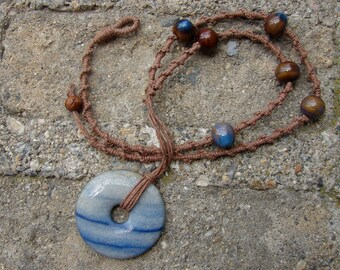 Ceramic Beaded Brown Long Hemp Necklace with Blue Aventurine Pendant