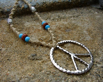Ceramic and Sterling Silver Beaded Hemp Necklace with Peace Sign Pendant