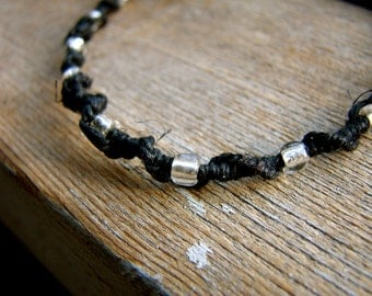 Silver Glass Beaded Thin Black Hemp Bracelet