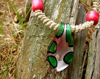 Pink and Green Wood Beaded Twisted Thick Hemp Necklace with Glass Pendant
