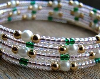 Rose Garden - Glass Pearl and Light Pink Beaded Bracelet