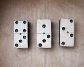 set of 3 antique primitive dominoes