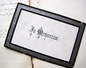 antique funeral memorial card - beautiful gothic writing
