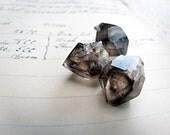 sky diamond - ethically harvested crystals - smoky quartz double terminated points - 3