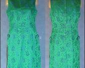 Vintage 60s Green Blue Satin Damask Cocktail Dress - SALE