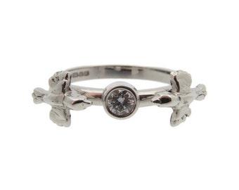 Lovebirds Ring, Diamond Engagement Ring, Silver. Brilliant Cut Diamond Solitaire, Handmade in England