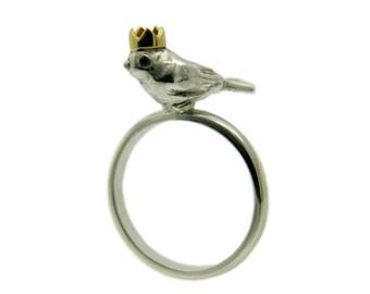 Bird Ring, Bird King, Handmade Sterling Silver, Black Diamond Eyes, 18ct Yellow Gold Crown, Handmade in Brighton UK