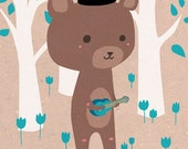 Illustration print: Ukulele bear. Limited /200 A5