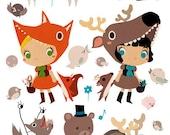 Stikers animals of the forest. Stikers les animaux de la foret.