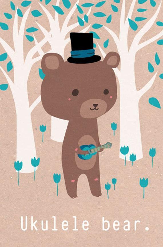Illustration print: Ukulele bear. Limited /200 A5