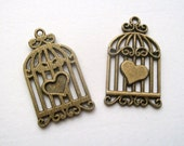 4 antique Bronze tone Bird Cage Pendants Charms 34 x 20 mm