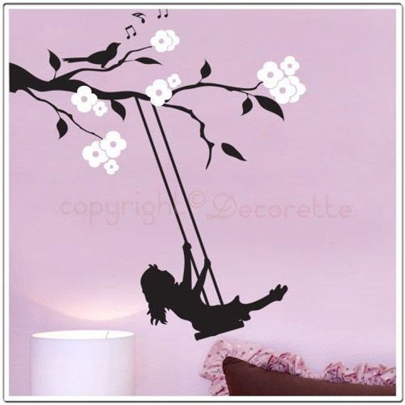 Floral Branch Swing - Girl's Nursery Wall Decal