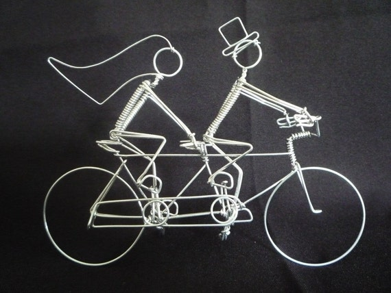ART OF CYCLING: Extra Small 5 inch Tandem Bike with Riders Wedding Cake Topper