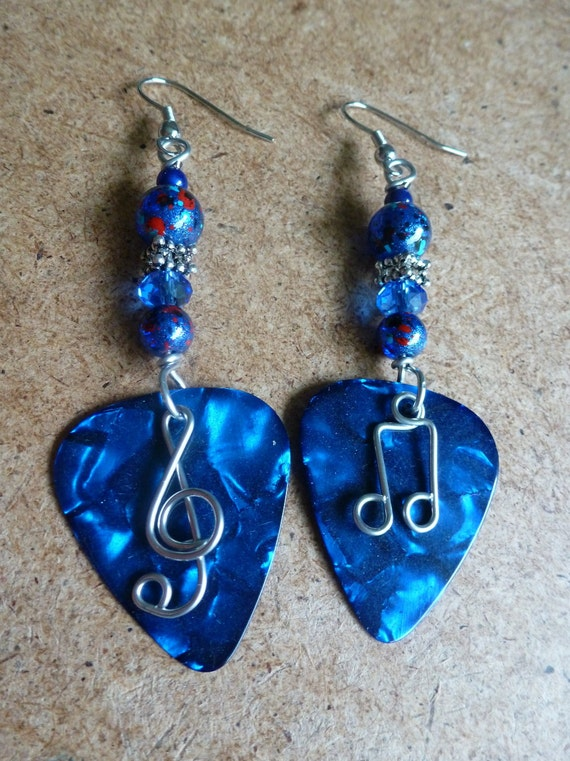 items similar to beaded guitar pick earrings on etsy. Black Bedroom Furniture Sets. Home Design Ideas