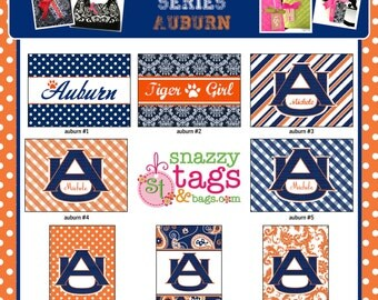 Personalized Bag Tag Luggage Tag Laminated Bag Tag Laminated Luggage Tag Monogrammed Bag Tag Auburn Bag Tag Custom Bag Tag AUBURN BAG TAG