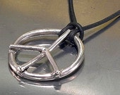 Peace Sign Necklace Jewelry Sterling Silver Leather Cord