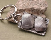 Fingerprint Keychain Thumbprint Key Chain in Sterling Silver Personalized