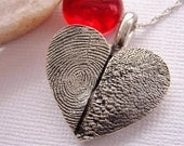 Fingerprint Heart Necklace Paw Print Jewelry Sterling Silver Personalized