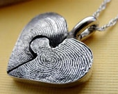 Fingerprint Puzzle Necklace  Piece in Sterling Silver Personalized