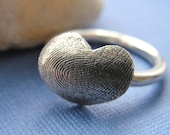 Fingerprint  Small Heart Ring Sterling Silver Thumbprint Personalized