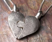 Custom Fingerprint Puzzle Necklace Valentines Day Sterling Silver Personalized