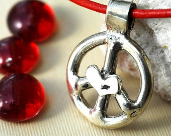 Silver Peace Sign Necklace Jewelry Sterling Silver Leather Cord