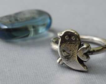 Twitter Bird Ring in Sterling Silver