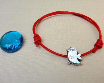 Twitter Bird Bracelet  Jewelry Sterling Silver Red Leather