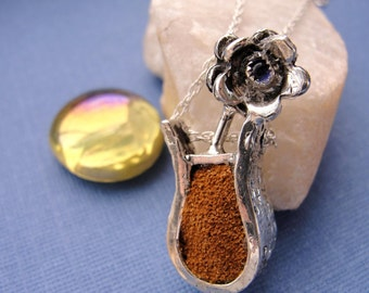 Sterling Silver Vase with Flower and Brown Leather Suede Necklace