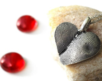 Fingerprint Heart Necklace in Sterling Silver Thumbprint