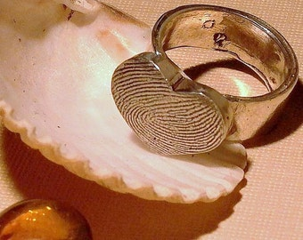 Sterling Silver Large Chunky Heart Fingerprint Thumbprint Personalized Ring