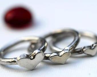 Heart Rings Sterling Silver Trio