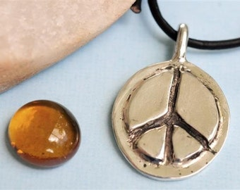 Peace Sign Necklace in Sterling Silver on Leather Cord