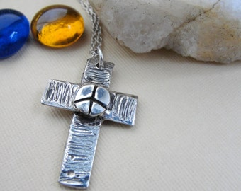 Silver Cross Necklace Peace Sign in Sterling Silver
