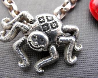 Spider Charm Bracelet Silver for Halloween