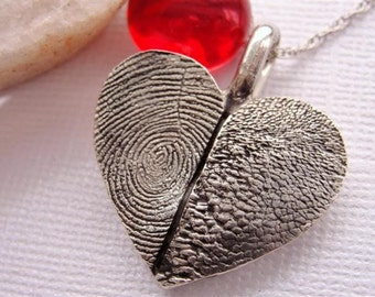 Silver Heart Fingerprint and Paw Print Necklace EXPRESS SHIPPING