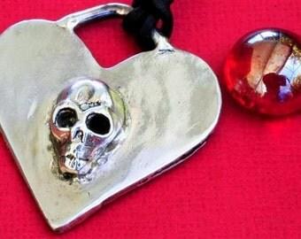 Skull Jewelry Necklace Heart Sterling Silver Halloween