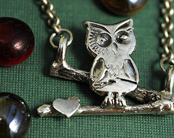 Owl Necklace Sterling Silver on Branch Twig