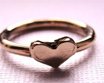 14kt Gold Heart Ring Solid Gold