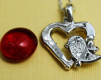 Sterling Silver Chunky Heart with Love Bird Necklace
