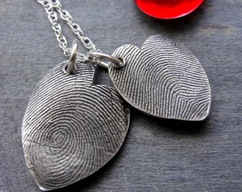 Custom Fingerprint Heart Necklace Sterling Silver Freeform Off Center