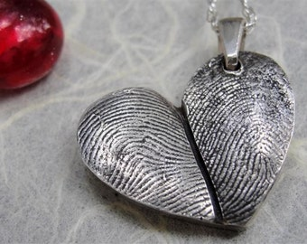 Fingerprint Heart Necklace Thumbprint in Sterling Silver Personalized
