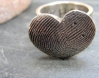 Fingerprint Ring Thumbprint Heart in Sterling Silver Personalized