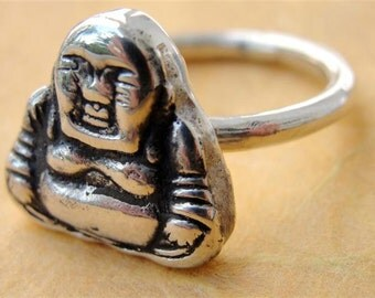 Buddha Ring in Sterling Silver